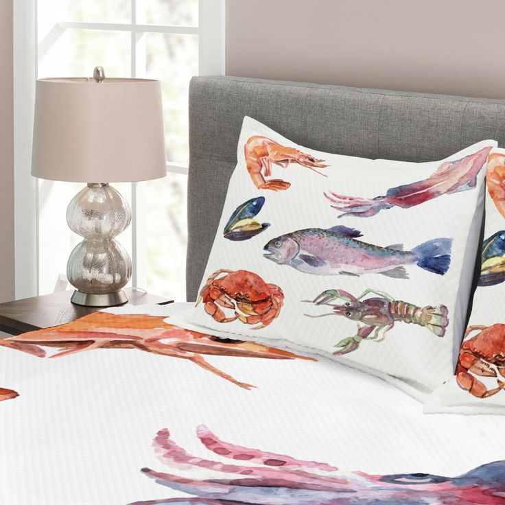 Details about Fish Quilted Bedspread & Pillow Shams Set, Sea Animals Watercolor Print