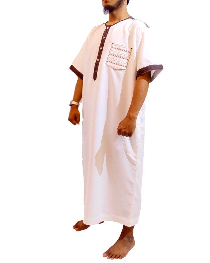 Jubah Muslim Pria Marocco Gamis Pria lengan pendek Kerah O-Jubah Samase-Putih Coklat