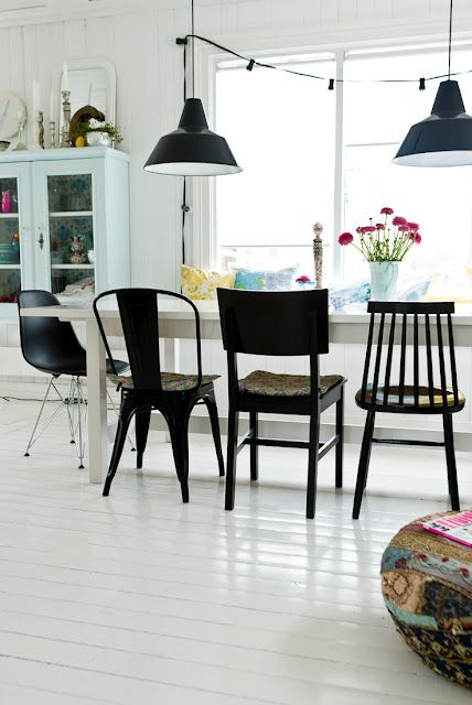black chairs against white perhaps to mix with plain wood