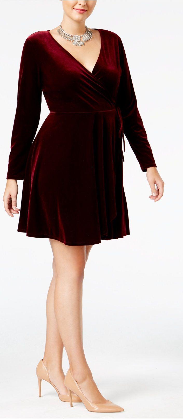 Plus Size Faux-Wrap Velvet Dress