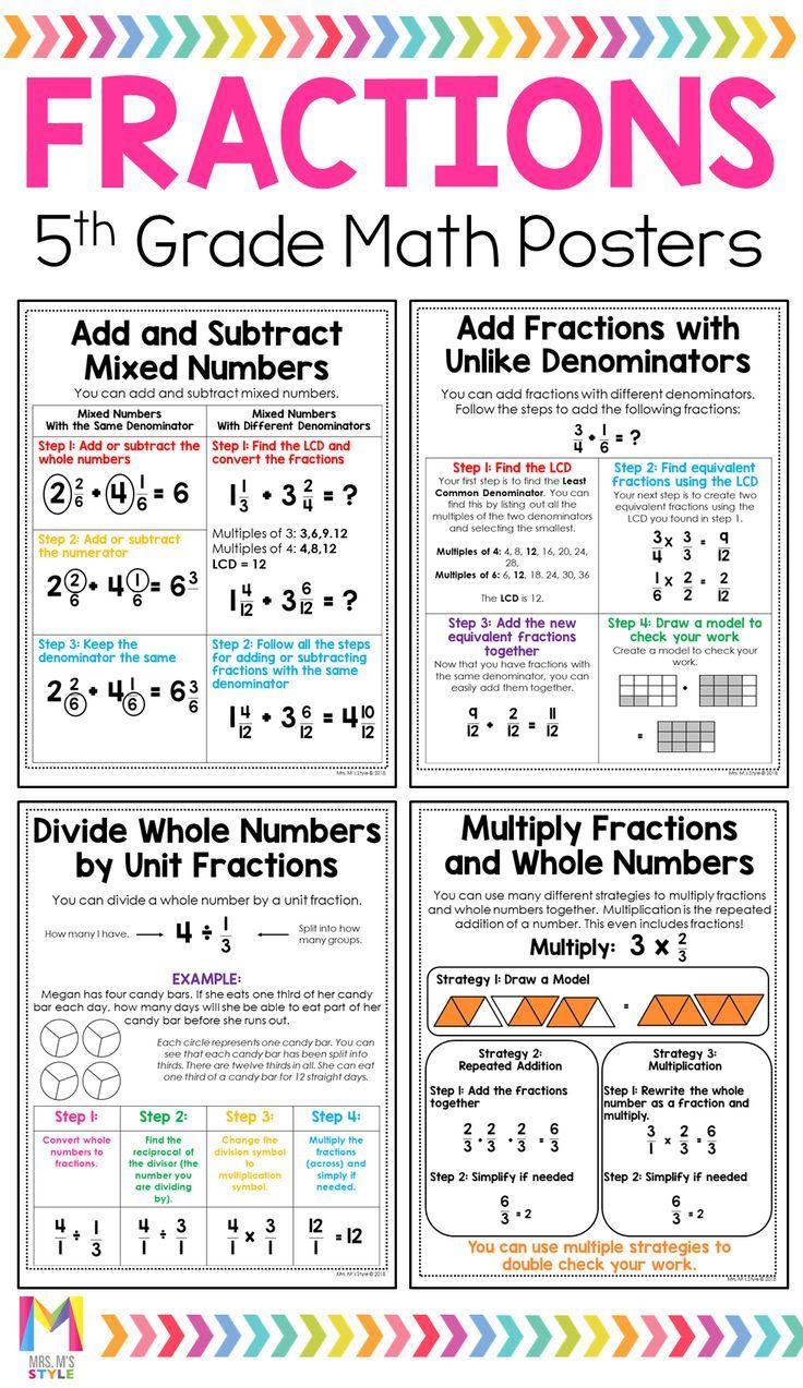 5th Grade Math Posters Math poster Teaching 5th grade
