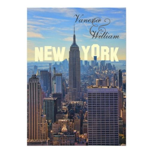 NY City Skyline Empire State Building, WTC Personalized Invitations