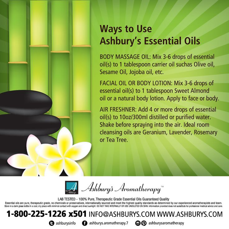 Ways to Use Ashbury's Essential Oils BODY MASSAGE OIL: Mix 3-6 drops of essential oil(s) to 1 tablespoon carrier oil such as Olive oil, Sesame Oil, Jojoba oil, etc. FACIAL OIL OR BODY LOTION: Mix 3-6 drops of essential oil(s) to 1 tablespoon Sweet Almond oil or a natural body lotion. Apply to face or body. AIR FRESHENER: Add 4 or more drops of essential oil(s) to 10oz/300ml distilled or purified water.  #ashburysaromatherapy