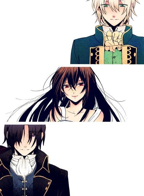 Pandora Hearts - Jack Vessalius, Lacie Baskerville, and Oswald Baskerville  Really love this trio, especially Oswald omg i wanna cry just to think of how he vanished!  *sorry spoiler xD