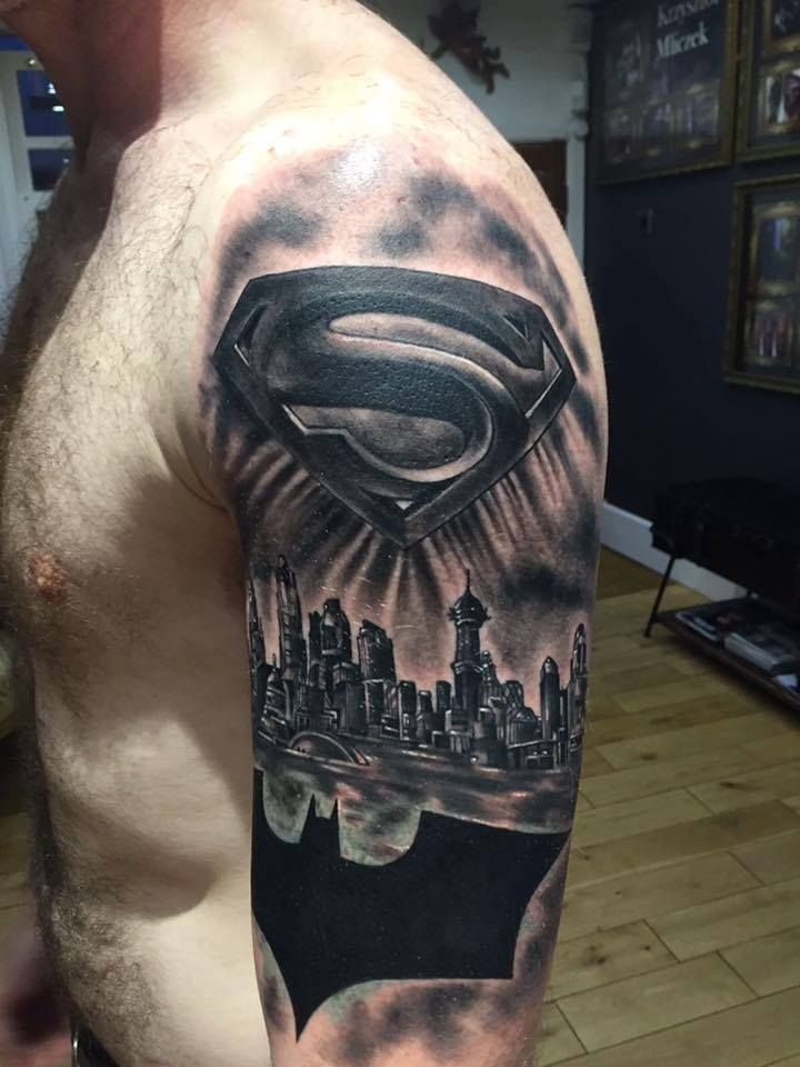 9c7a0dd3a5aee Batman vs Superman tattoo by Emil at Holy Grail Tattoo Studio | Emil ...