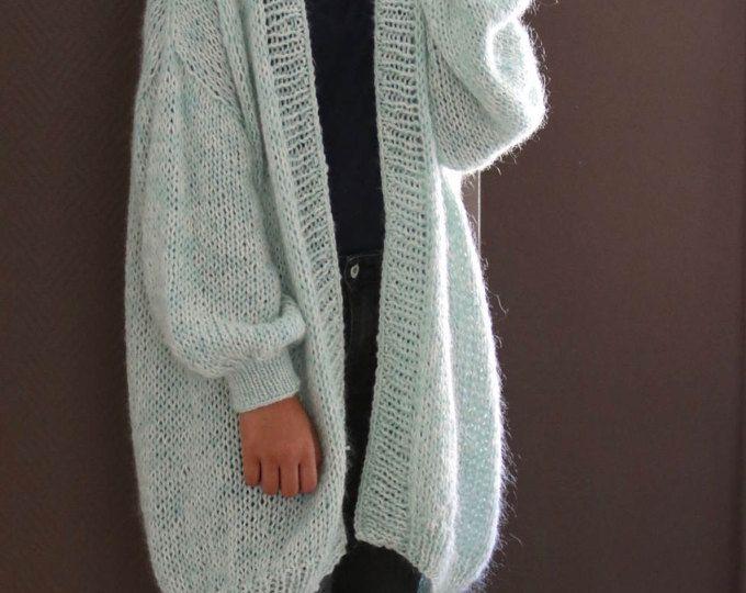 Gran tamaño suéter de punto grueso, punto flojo, Jersey Slouchy, turquesa Pastel, chaqueta de punto de gran tamaño / suelta de punto chaqueta de punto / chaleco de Bernadette