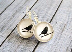 Handmade Black Bird Earrings for sale $12 + postage  Available now at : http://quirkystreet.bigcartel.com/product/bird-earrings