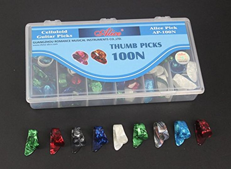100pcs AP-100N Box-packed Celluloid Thumb Guitar Picks Pick Plectrum Various Colors + Case -- Awesome products selected by Anna Churchill