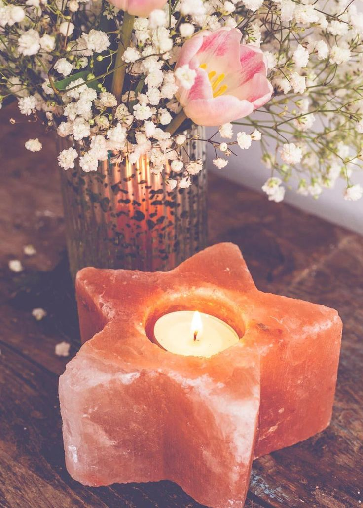 Starry night! With a gorgeous glow this star shaped rock salt candle holder emits negative ions that restore and neutralize the atmosphere, when lit. Perfect addition to your sacred space. - One Teali