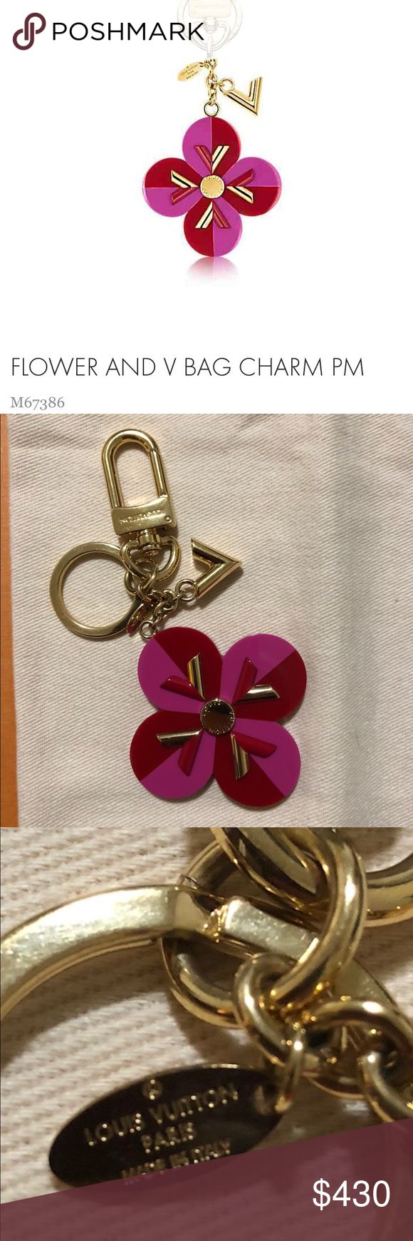 Louis Vuitton Flower and V Bag Charm 💯Authentic A colorful charm featuring the brands iconic monogram flower and graphic V.  This item is no longer available on the Louis Vuitton website. This charm has been used occasionally and has some superficial hairline scratches shown in photo they are not noticeable in person when using the charm. Louis Vuitton Accessories Key & Card Holders