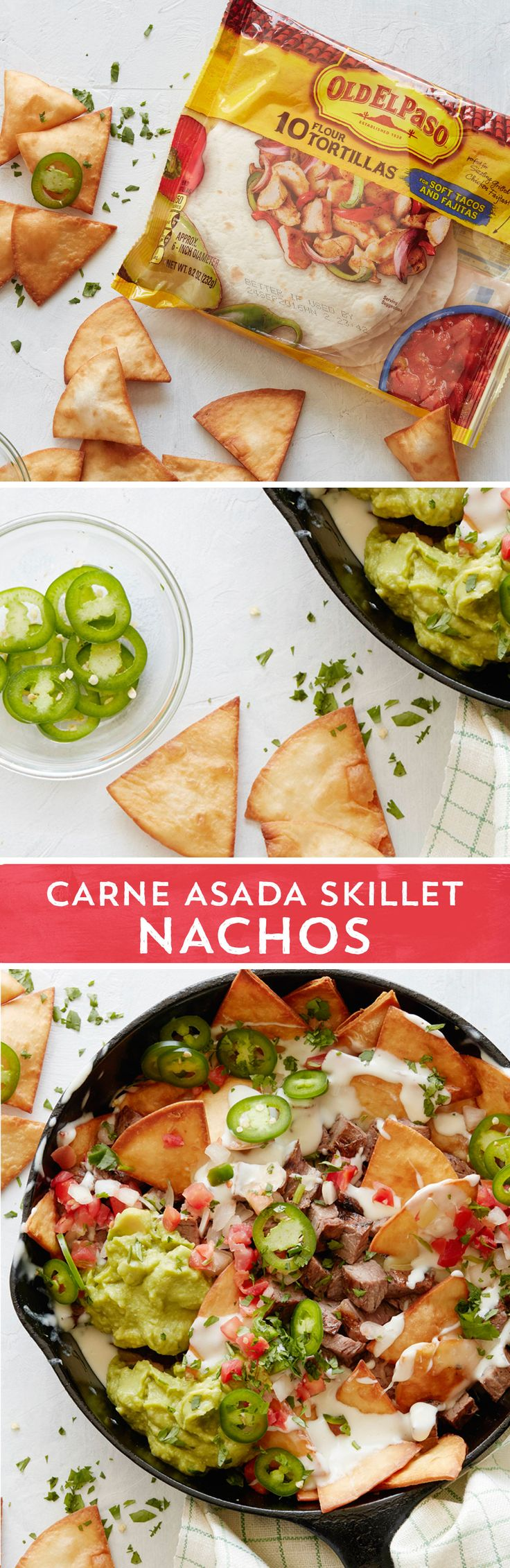 Craving nachos? These Carne Asada Skillet Nachos from @whatsgabycookin are just what you need! Packed with freshly fired tortilla chips, savory carne asada, cool guacamole and melty cheese - these bring all the flavors you crave!