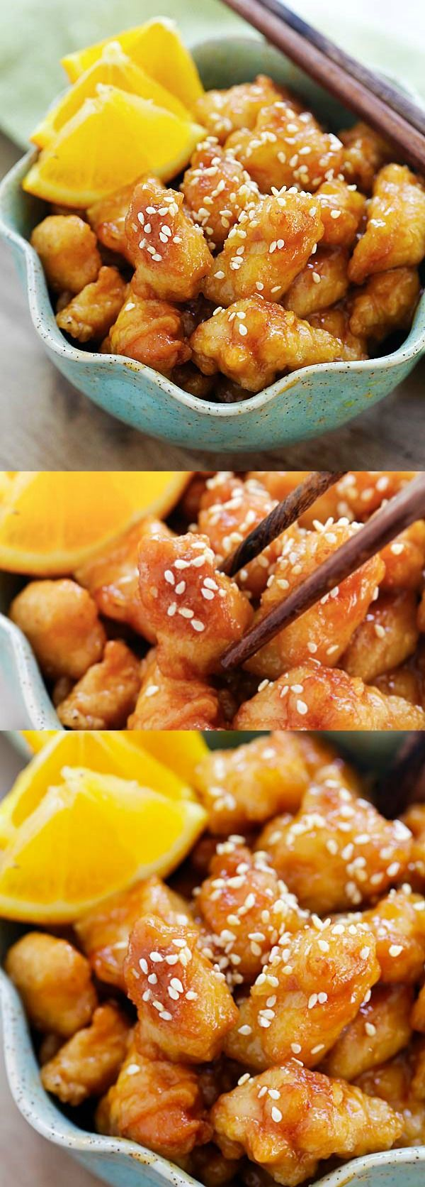 Orange chicken – easy homemade orange chicken recipe that takes 30 mins to make. It's healthier and much better than Panda Express and Chinese takeout | rasamalaysia.com