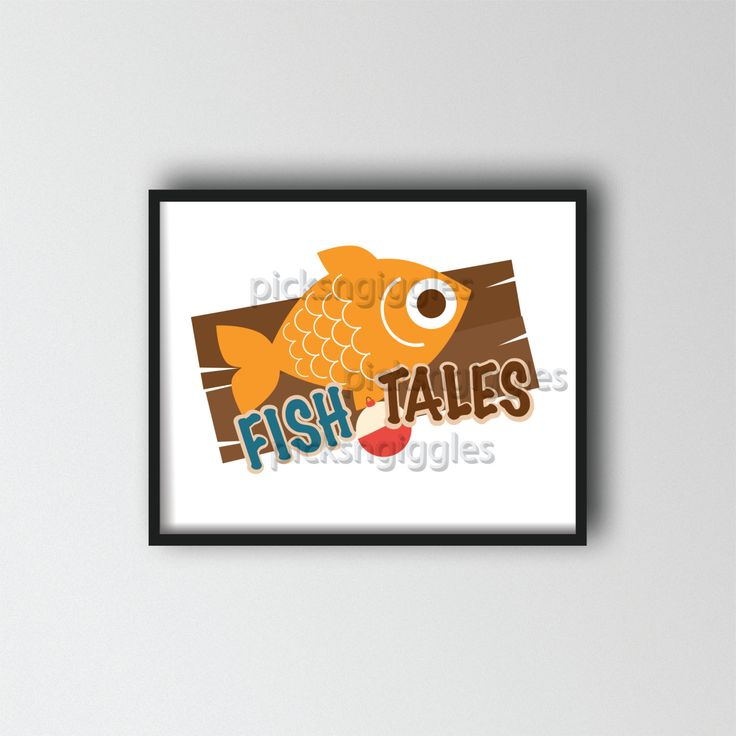 Fish Tales A great addition to a fishing themed nursery or child's bedroom, wall art size 8x10 by picksngiggles on Etsy