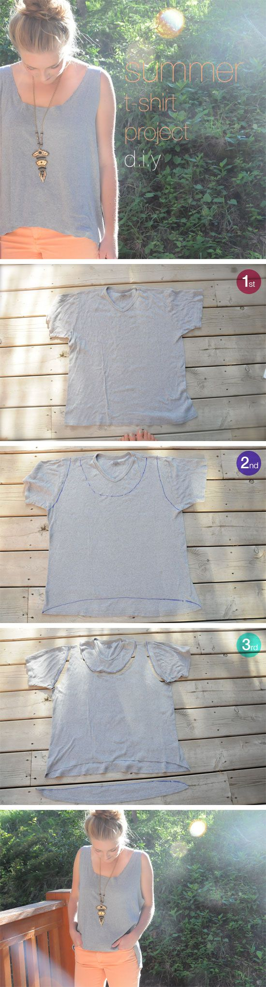 1. Find an old, oversized t-shirt. 2. Trace your chosen shape with a sharpie. We cropped the front of the shirt and added a flattering, low back. 3. Cut along the lines with a good pair of fabric sheers (we used Gingher), try the shirt on and make any desired alterations!