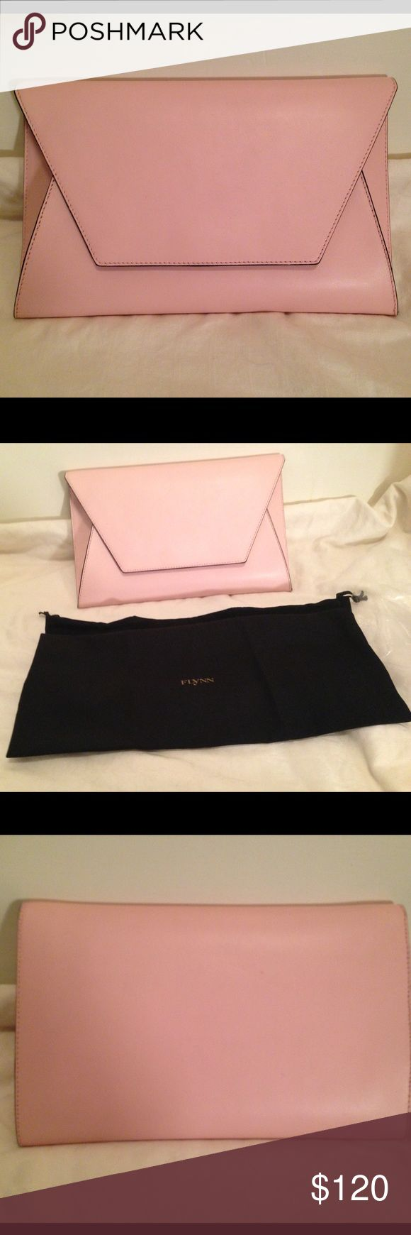 """NWT Flynn Fergie Clutch Soft Pink w/ Dustbag NWT Be ready for spring! Pretty pink Fergie clutch has leather exterior with poly fabric lining. Bag has flap top with magnetic closure. Interior has one slit pocket. Flynn is a high-end Australian brand that designs sophisticated yet functional handbags. Approximate dimensions are: Length: 11.5"""", Height: 7"""", Depth: 2"""". Finally a clutch with room for your stuff. (Area 8) Flynn Bags Clutches & Wristlets"""