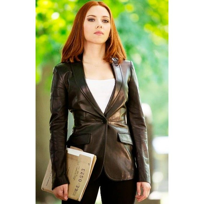 Scarlett Johansson Black Trench Style Coat Leather Jackets For Sale