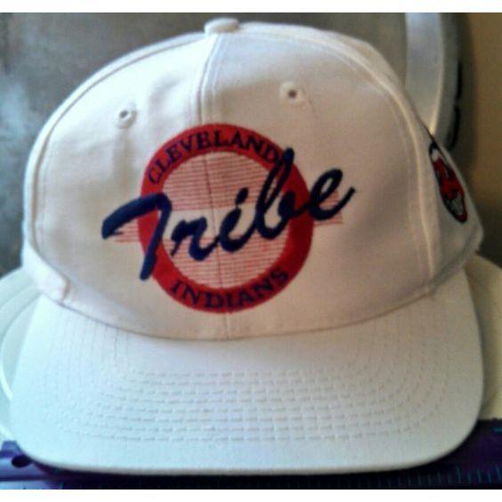 Cleveland Indians Tribe Wahoo white baseball hat cap OS adjustable MLB AL Champs