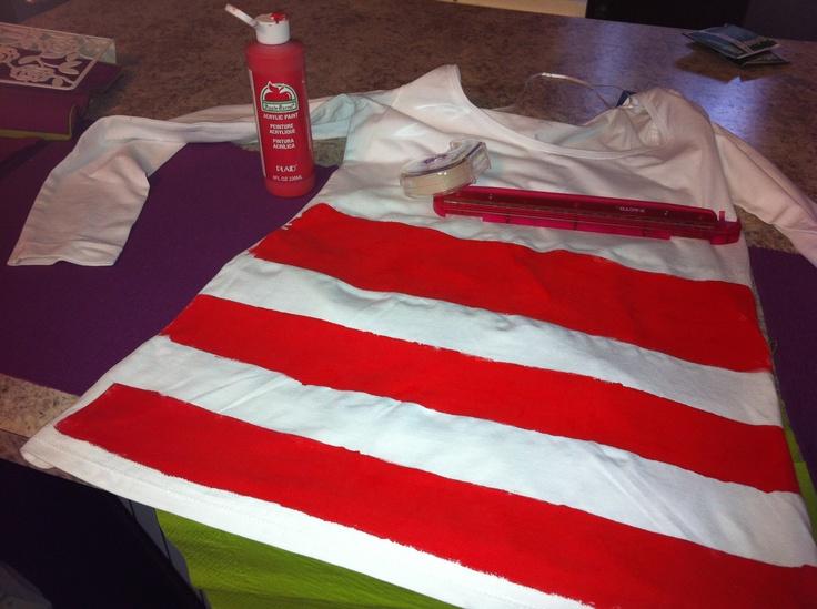 DIY Where's Waldo shirt. #halloween #striped #waldo