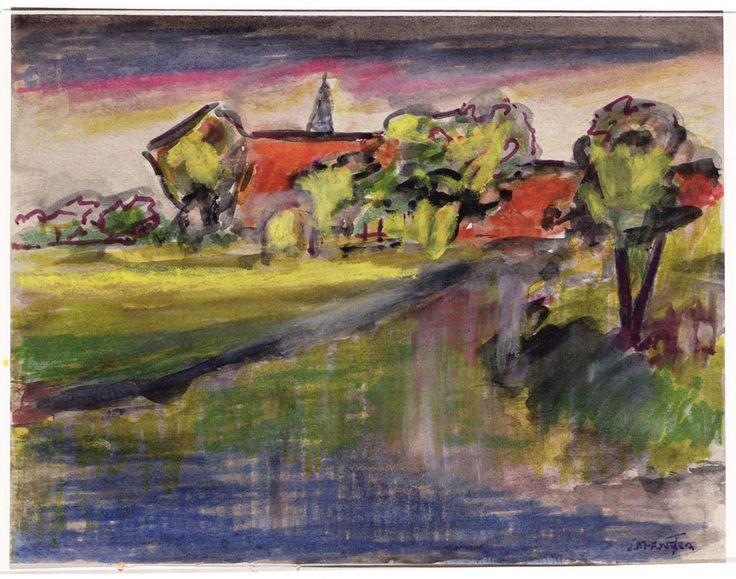 J.F. Henstra - Aquarel. Landschap met kerktoren, bomen en water.