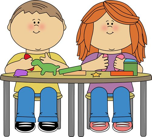 Kitchen Center Clipart: Kids Playing With Clay.