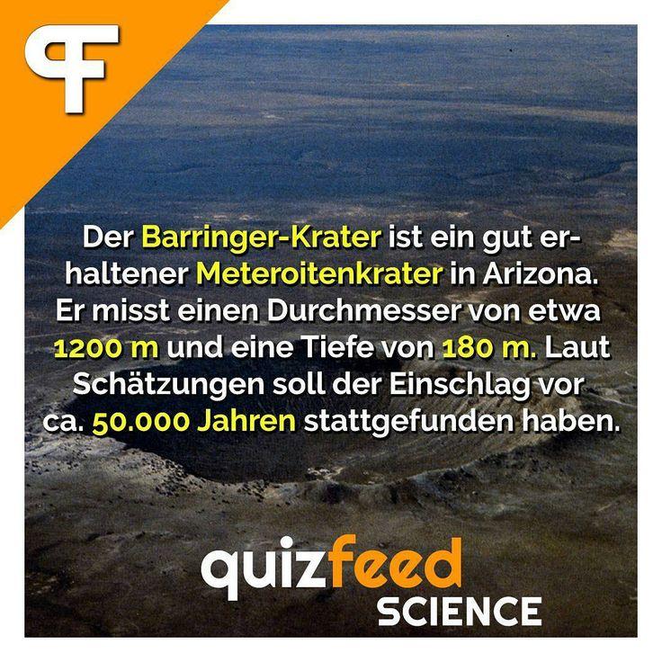 Der Barringer-Krater ist ein gut erhaltener Meteroitenkrater in Arizona. Er misst einen Durchmesser von etwa 1200 m und eine Tiefe von 180 m. Laut Schätzungen soll der Einschlag vor ca. 50.000 Jahren stattgefunden haben.  Der einschlagende Meteorit hatte einen Durchmesser von 45 Metern, wog 300.000 Tonnen, schlug mit einer Geschwindigkeit von ungefähr 55.000–110.000 km/h ein und bestand im Wesentlichen aus Eisen. #Meteor #Universum #sonnensystem #erde #Welt #barringerkrater #Natur