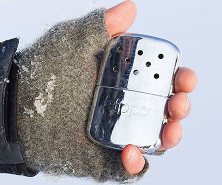 Keep your fingers from falling off on extra cold days by staying toasty with this Zippo hand warmer. Weighing only 5 ounces, it sports a sleek yet rugged design and produces a flameless and virtually odorless heat that'll keep your hands warm.