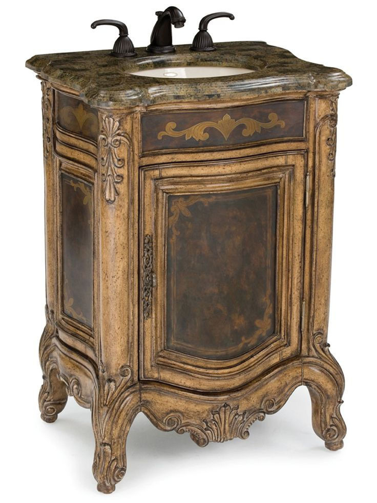 25″ Winslow Single Bath Vanity - This is a compacted version of the larger Winslow collection. Solid mahogany emits glowing hues using a protective acid wash process. Golden Agate Fossil Stone and etched brass sheeting capture the essence of rustic decor. $2,310.00