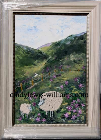 Sheep and flowers with icing art in oils 2013 by Cindy Lewis-Williams, the first to use icing for oil painting!!!!