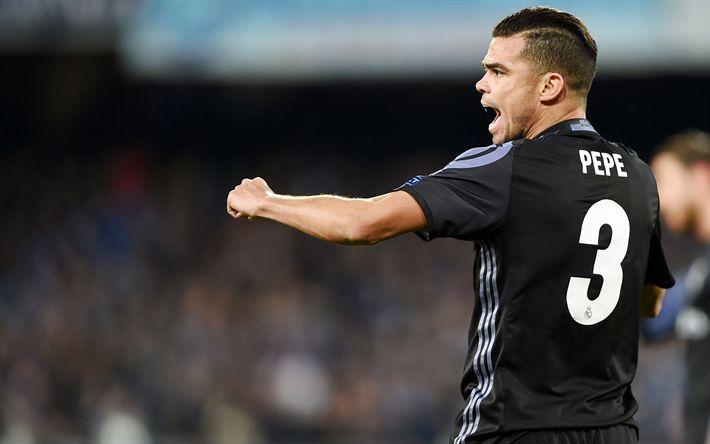 Descargar fondos de pantalla Pepe, el partido, el defensor, el fútbol, La Liga, el Real Madrid