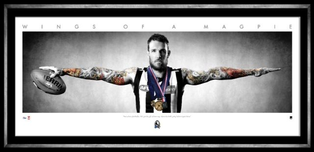 COLLINGWOOD FOOTBALL CLUB DANE SWAN WINGS of a MAGPIE Personally signed by Dane Swan Presented in a deluxe timber frame Officially licensed by the AFL Authenticated by the AFL Players Association Accompanied with a certificate of authenticity Approx framed size 1350mm x 570mm