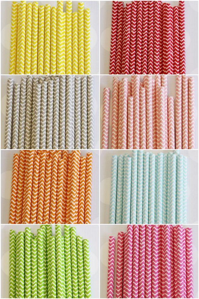 Chevron Print Paper Straws!! 350pcs Paper Straws Mixed 14 Styles, in Dot ,Chevron,Wave,Stars colored