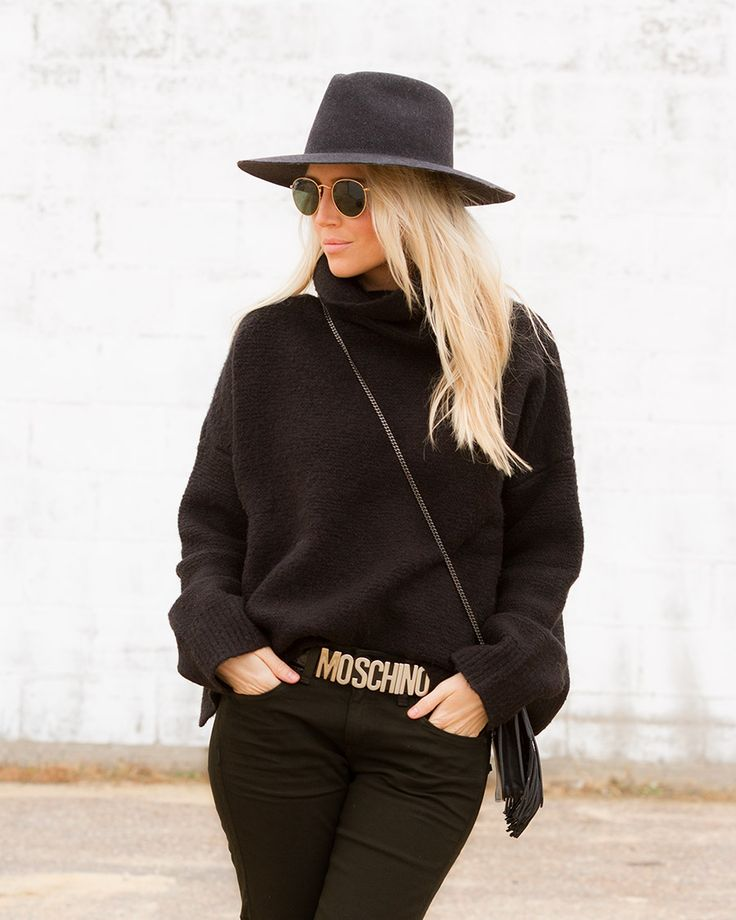 Fedora and Moschino belt on The Boyish Girl