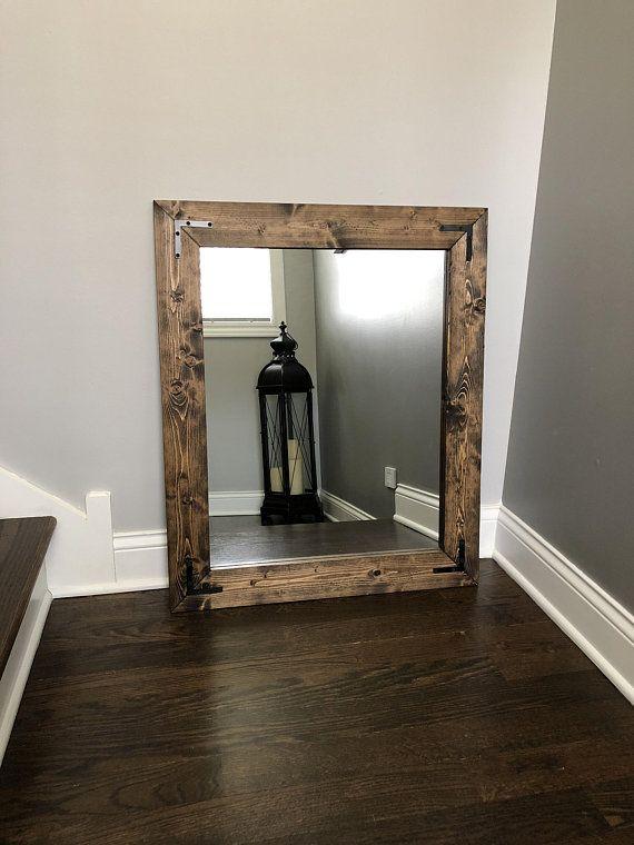 Jacobean Mirror Wood Framed Mirror Handmade Rustic Wood Mirror Bathroom Mirror Framed Wall Mir Wood Framed Bathroom Mirrors Mirror Wall Mirror Wall Bedroom