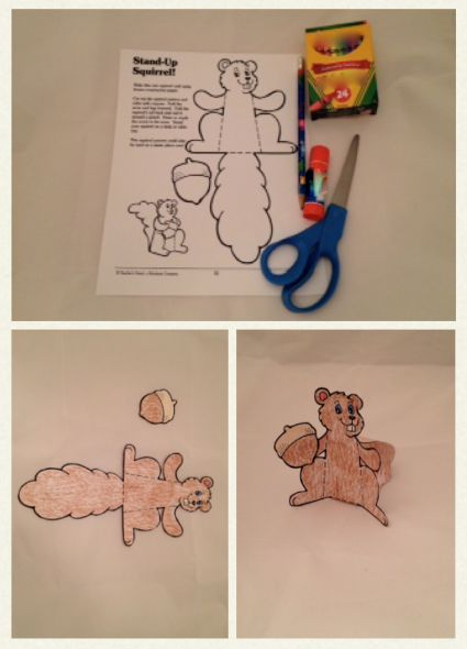 Students color, cut out and assemble a stand-up squirrel. #ClassroomCraft #FallCraftActivities #Squirrel
