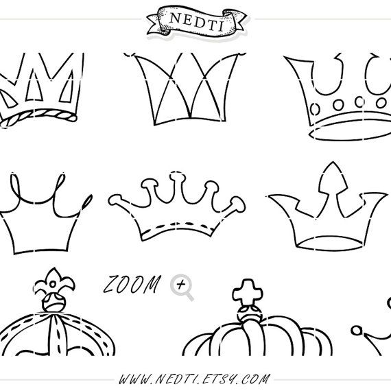 Crowns Doodle Hand Drawn Vector Prince Crown Digital Clipart   Etsy