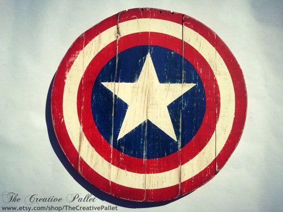 Captain America Round Shield Vintage Wood Pallet Sign