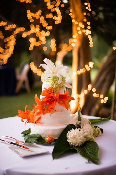 white and orange lilies  Paradise Falls Tropical Estate Weddings Get married in Oceanside, San Diego, California! http://www.visitoceanside.org/weddings/