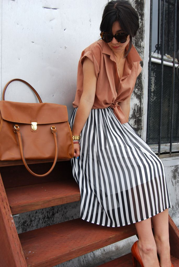 brown + striped skirt
