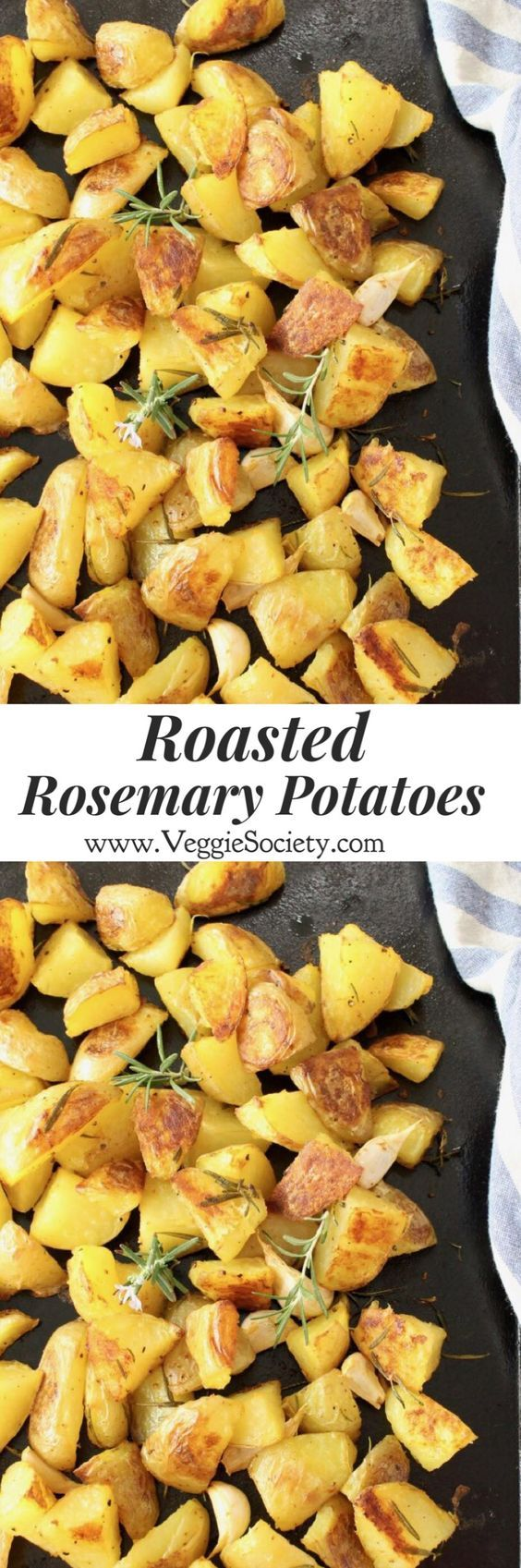 Quick Roasted Rosemary Potatoes with Garlic Recipe. To die for, vegan potatoes that are crispy at the edges and soft of the inside, perfect for your Thanksgiving and Christmas dinner | VeggieSociety.com @VeggieSociety #vegan #plantBased #sidedishes