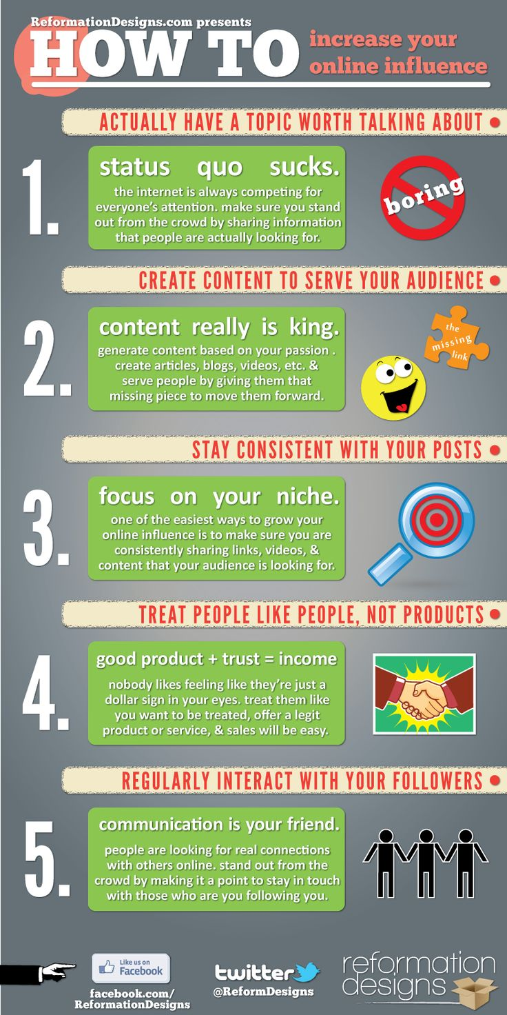 How To Increase Your Online Influence: Increa Online, Social Marketing, Internet Marketing, Social Media, Influenc Infographic, Online Influenc, Socialmedia, Content Marketing, Howto