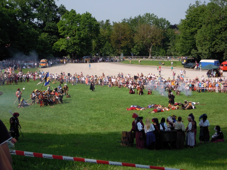 After the battle. The venezians are beaten. Georg of Frundsberg is the winner -  Medieval event at Mindelheim / Germany