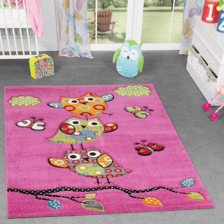 Eulen Teppich Pink Fuchsia Grün Creme Kinderzimmerteppich mit Konturenschnitt Kinderteppich