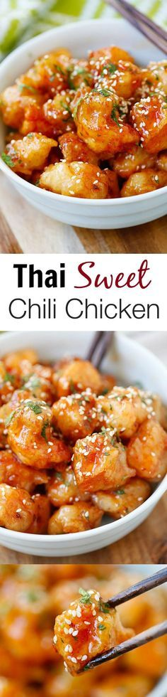 Thai Sweet Chili Chicken – amazing and best-ever chicken recipe with sticky, sweet and savory sweet chili sauce. SO good you will want to lick the plate!!   rasamalaysia.com