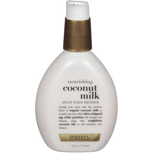 Organix Coconut Milk Split Ends Mender. I swear by this leave in conditioner. I have not had a haircut in a year & I have no split ends at all. Love it!!