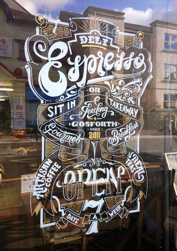 Deli Espresso Window Sign by Ashley Willerton