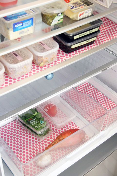 My number one secret for fridge organization is washi tape! It's a great way to label foods, including the date cooked or best before date. I use different colored washi tape to label leftovers, ingredients, etc... to avoid cooking mix-ups.