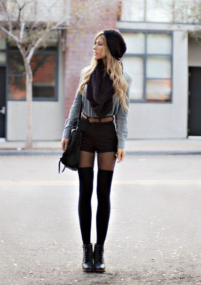 Thigh high socks, boots, shorts, scarf and hoodie. Absolutely love this look.    Idealnie!