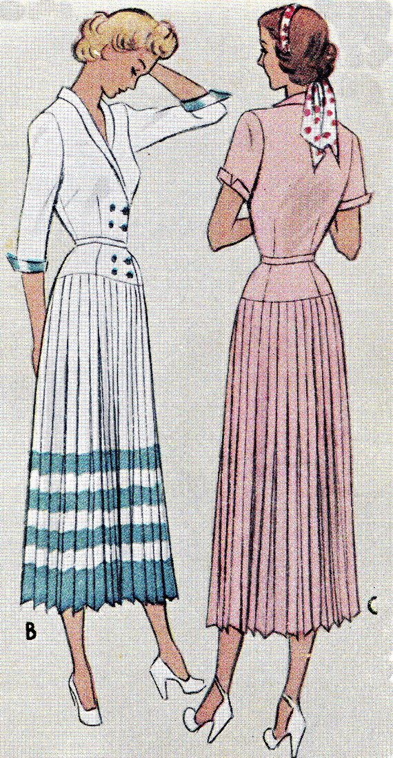 1940s dress Pattern McCall 7682 doppio petto Coatdress coltello a pieghe Gonna Womens Plus Size Vintage Sewing Pattern busto 38