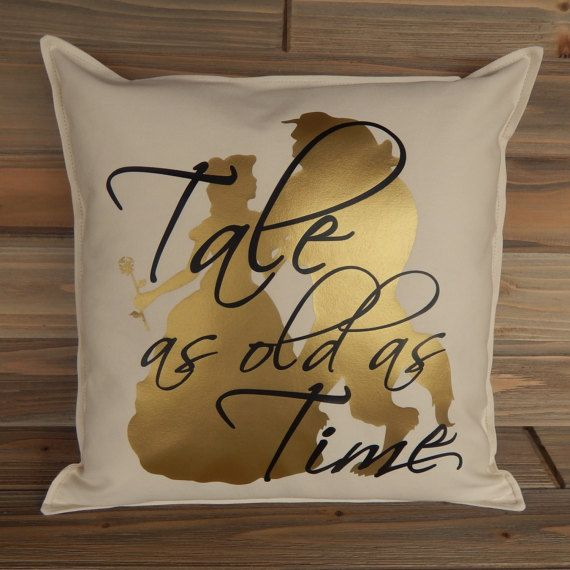 Beauty and The Beast Inspired Pillow Cover 16 x 16 Disney