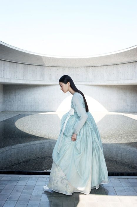 한복 Hanbok / Pastel light blue jeogori and  chima / Traditional Korean dress